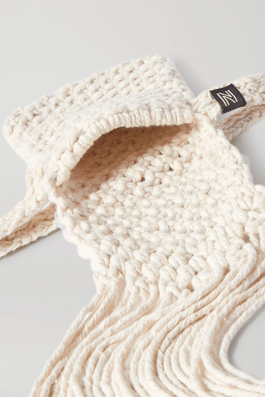 Nannacay + NET SUSTAIN fringed sequin-embellished macramé belt bag
