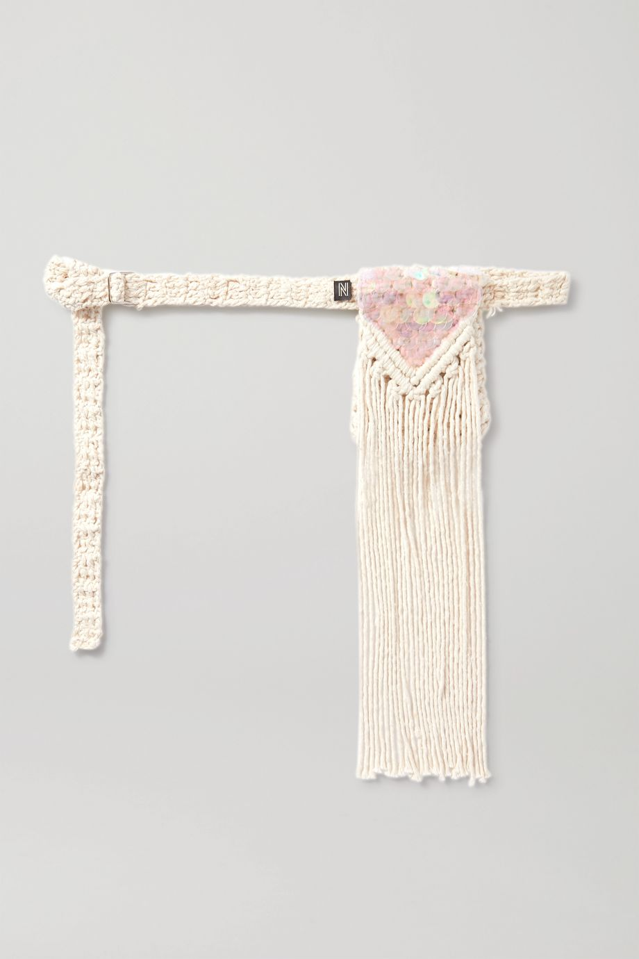 Nannacay + NET SUSTAIN fringed sequin-embellished macramé belt bag
