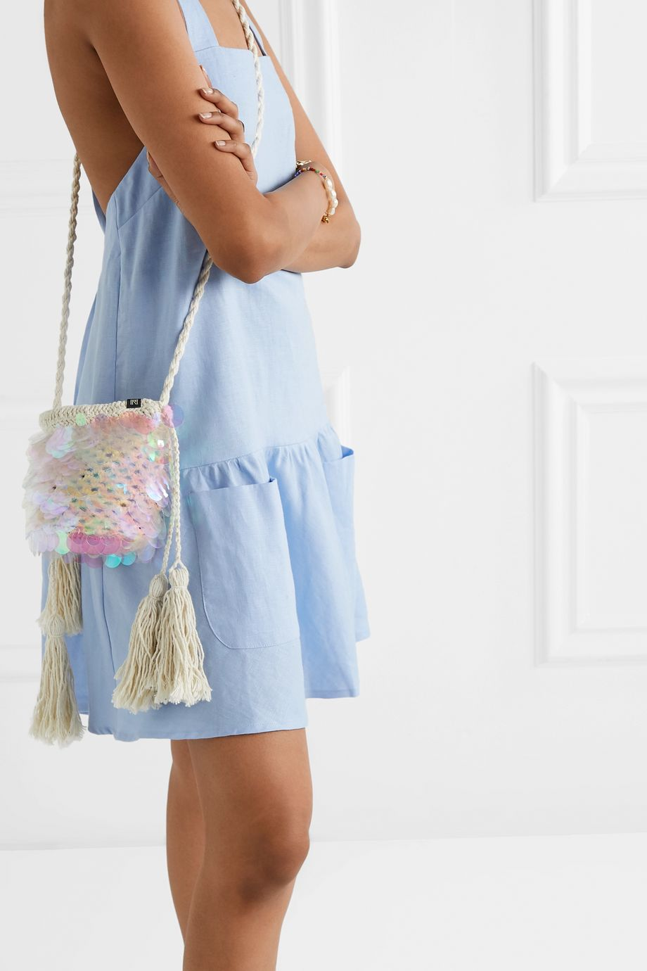 Nannacay + NET SUSTAIN Oak paillette-embellished macramé shoulder bag