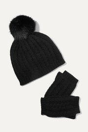 Faux fur-trimmed cable-knit cashmere beanie and fingerless gloves set