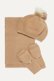 Faux fur-trimmed waffle-knit cashmere hat, scarf and gloves set