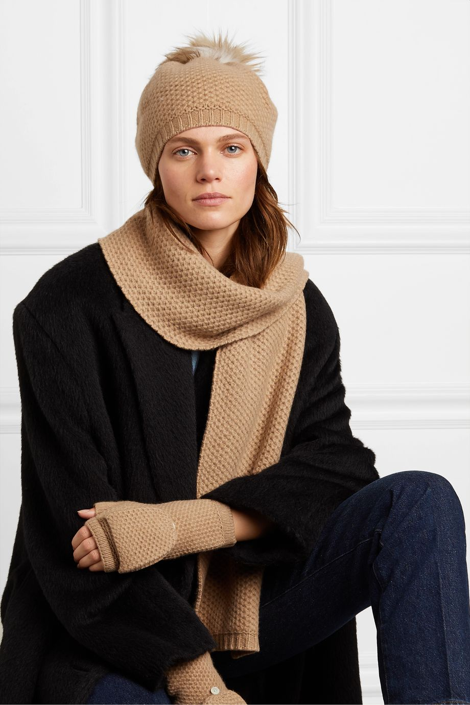Portolano Faux fur-trimmed waffle-knit cashmere hat, scarf and gloves set