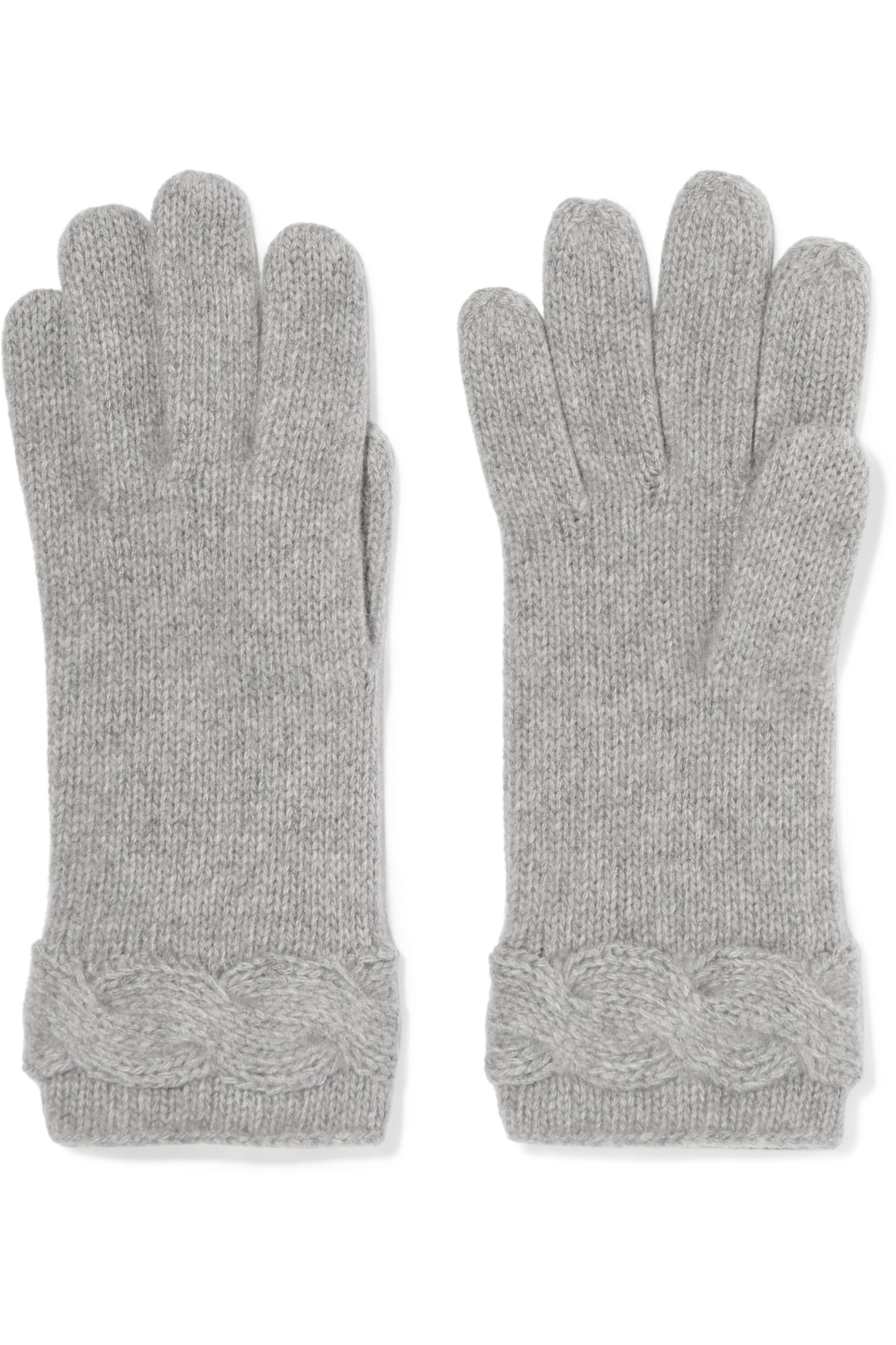 Portolano Cable-knit cashmere beret and gloves set
