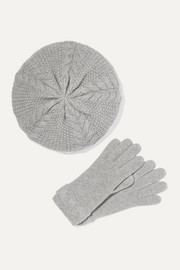 Cable-knit cashmere beret and gloves set