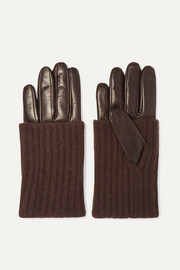 Leather and ribbed cashmere gloves