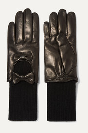 Bow-embellished leather and cashmere gloves