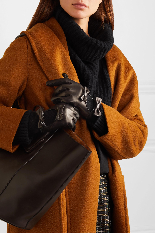 Portolano Bow-embellished leather and cashmere gloves