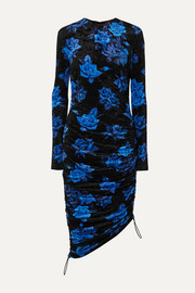 Ruched floral-print velvet dress