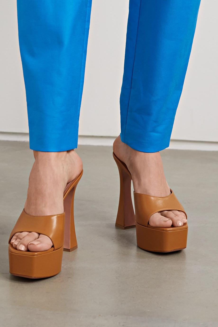 Amina Muaddi Dalida leather platform mules