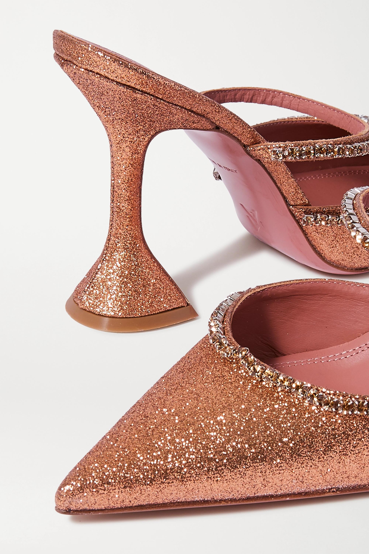 Amina Muaddi Gilda crystal-embellished glittered leather mules