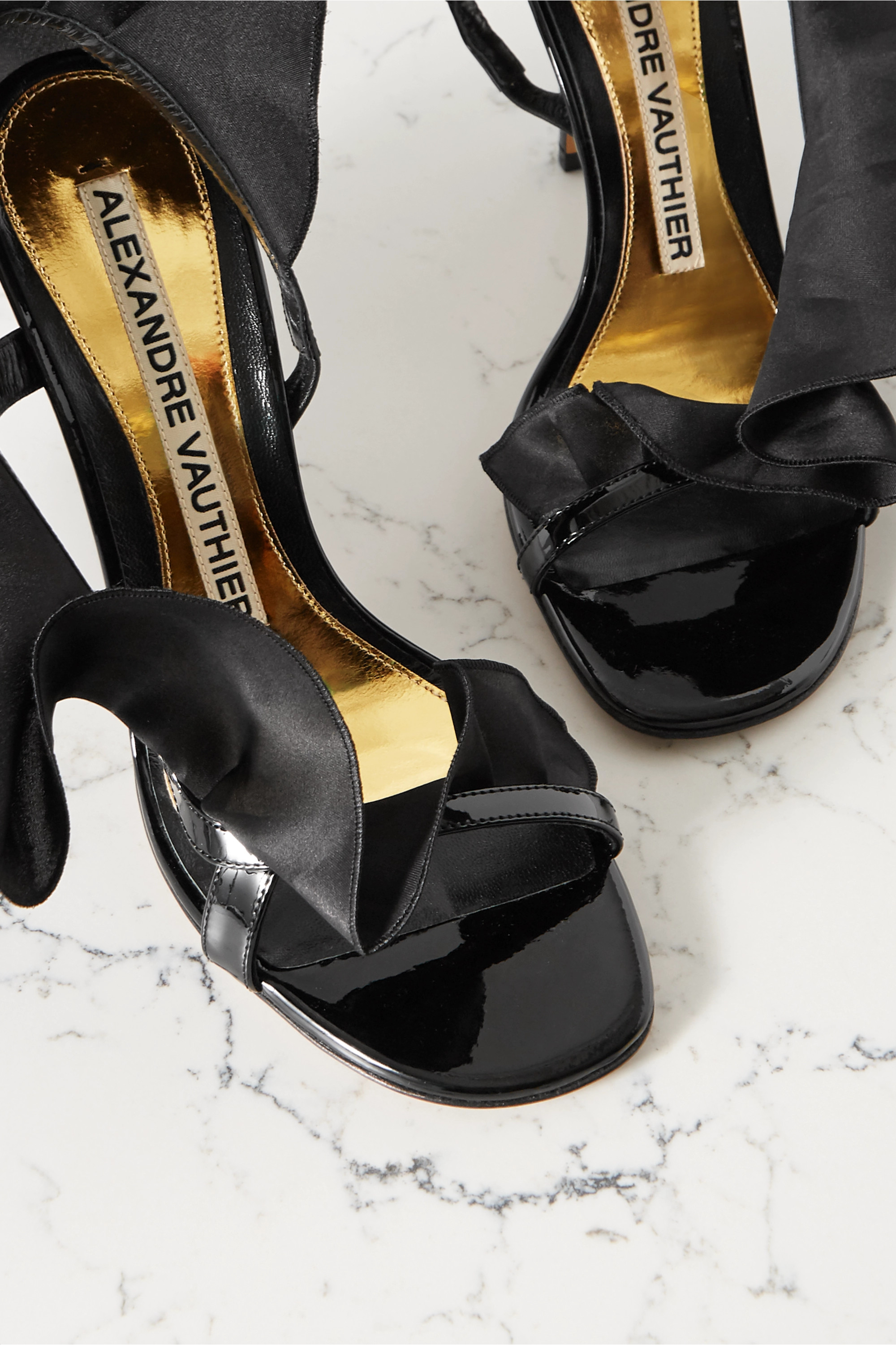 Alexandre Vauthier Penelope ruffled organza and patent leather slingback sandals