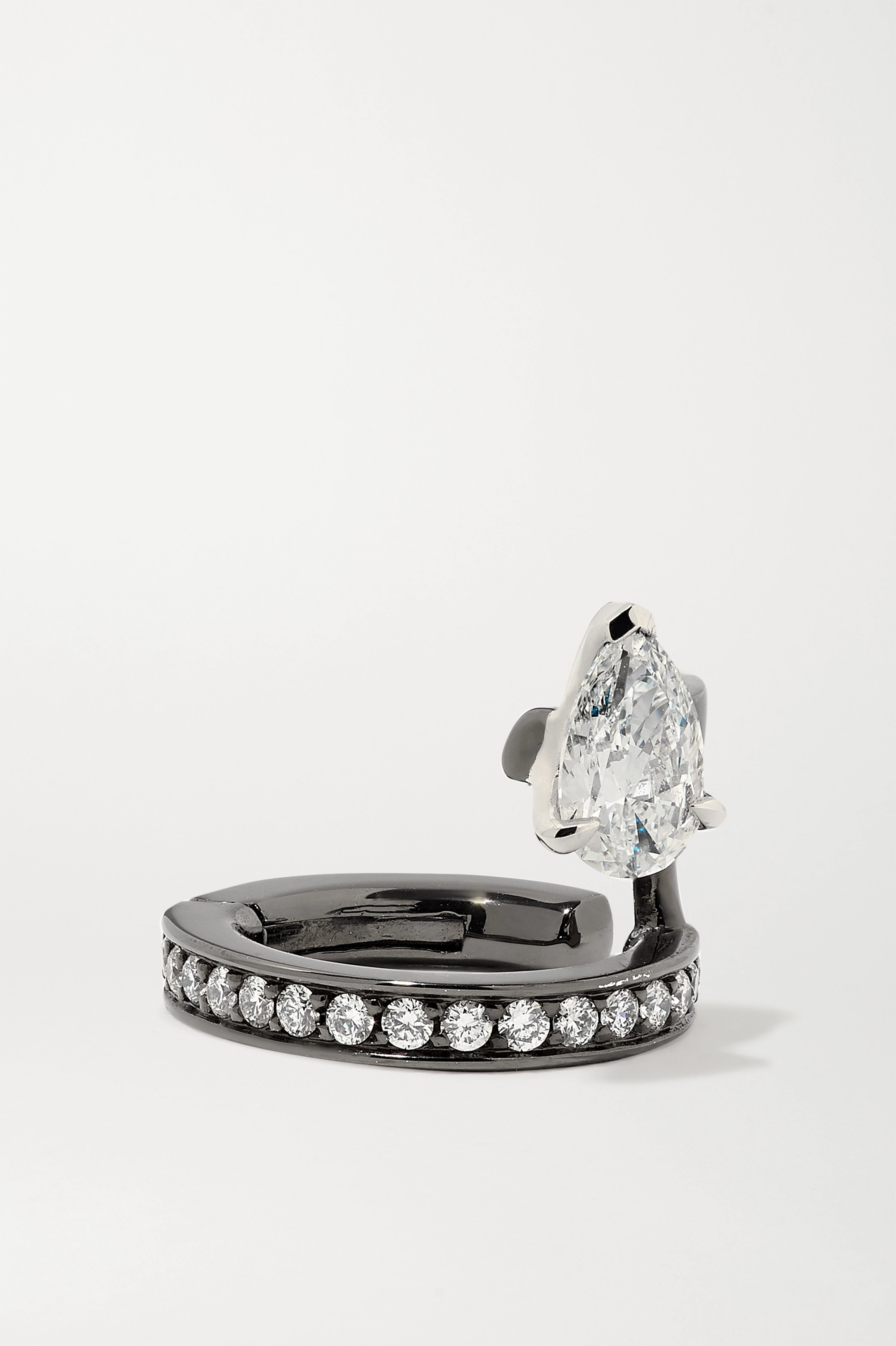 Repossi Serti Sur Vide 18-karat black gold-washed diamond ear cuff