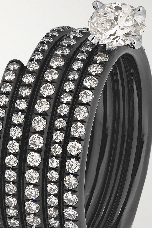 Repossi Blast 18-karat black gold-washed diamond ring