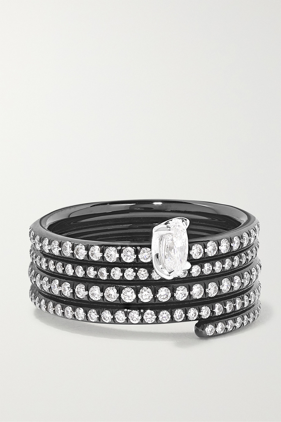 Repossi Blast 18-karat black gold-washed diamond ring