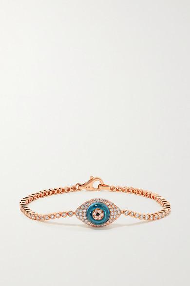 Lorraine Schwartz Against Evil Eye 18-karat Rose Gold, Topaz And Diamond Bracelet