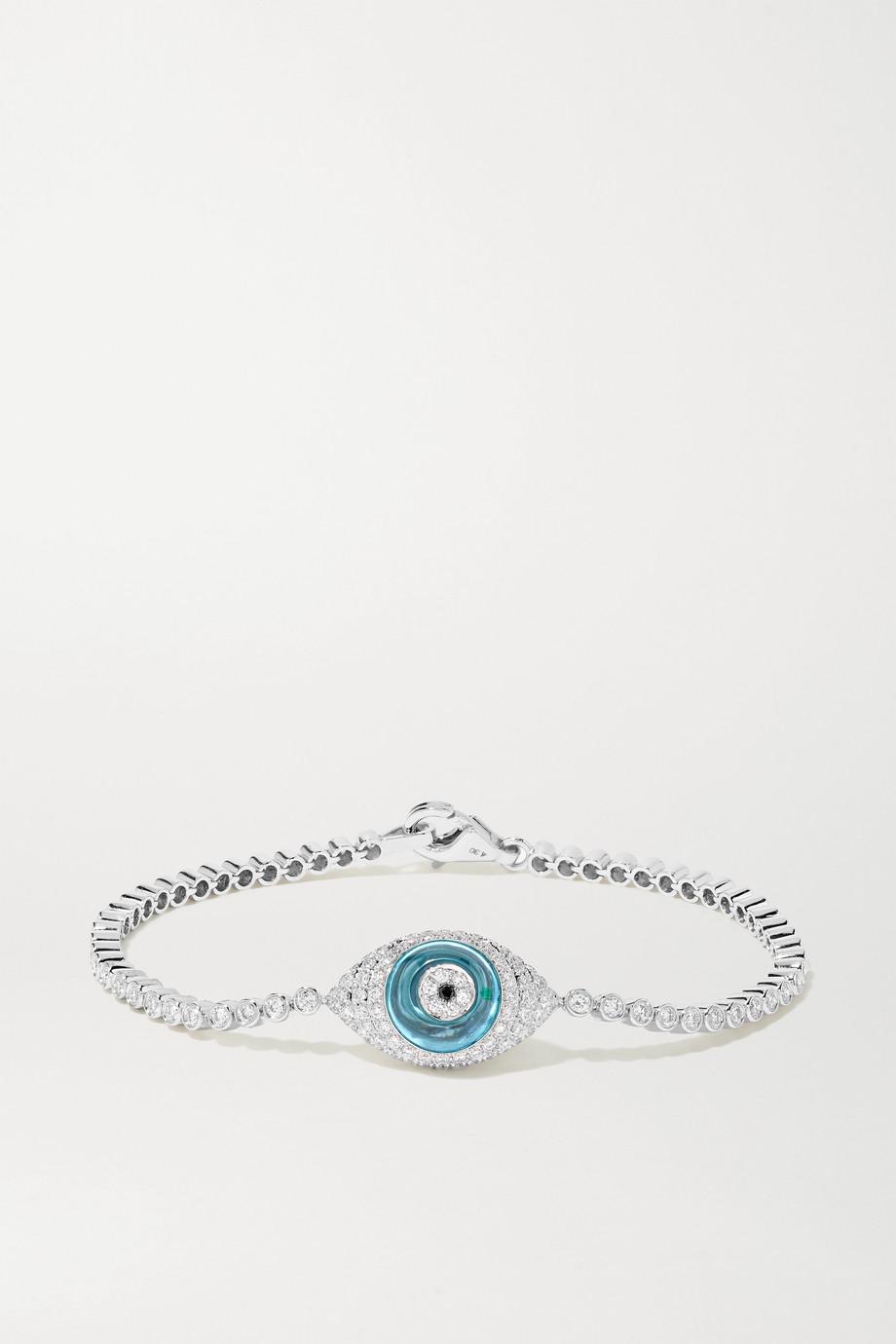 Lorraine Schwartz 18-karat white gold, topaz and diamond bracelet