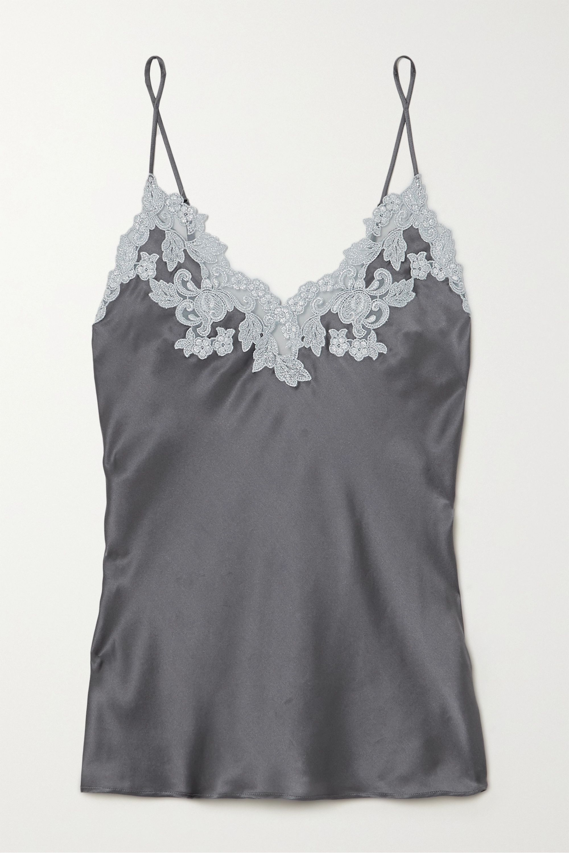 La Perla Maison lace-trimmed silk-charmeuse camisole
