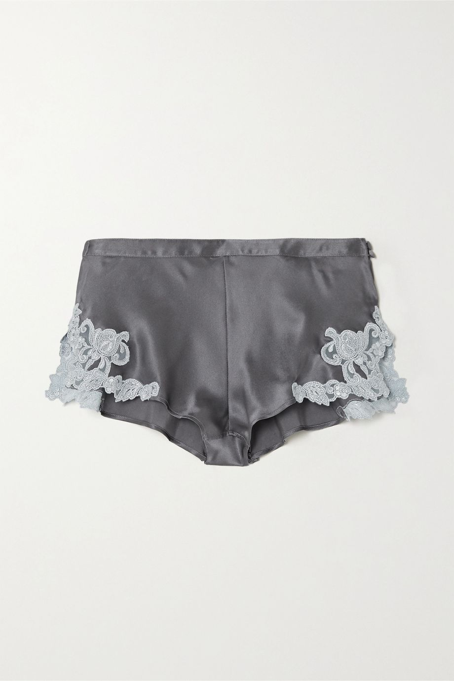 La Perla Maison 蕾丝边饰真丝查米尤丝绸缎短裤