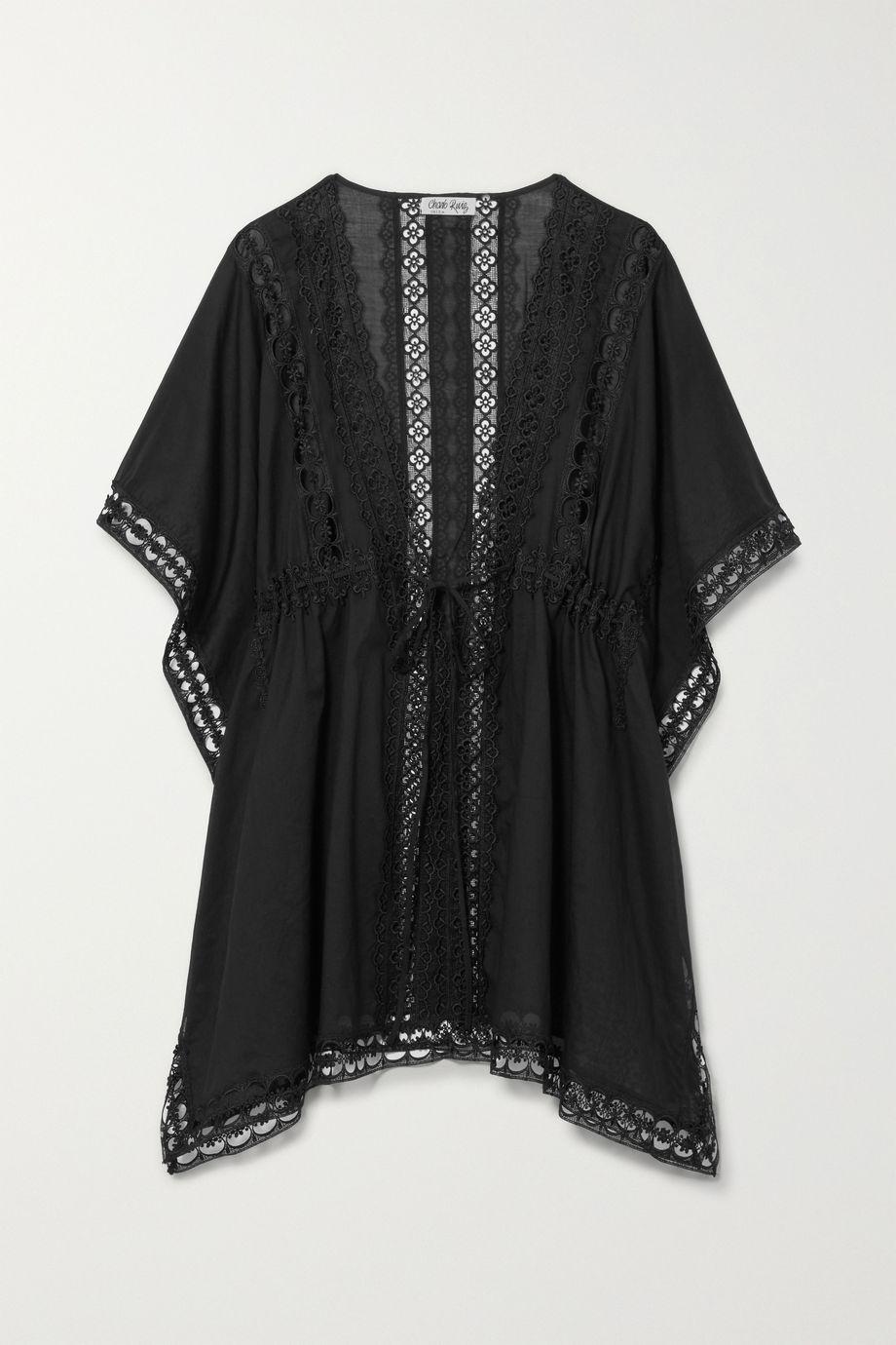 Charo Ruiz Kayla crocheted lace-paneled cotton-blend kaftan