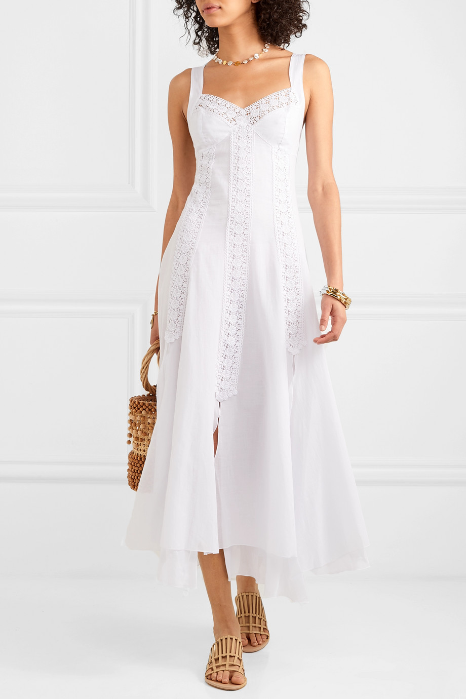 Charo Ruiz Heart crocheted lace-paneled cotton-blend voile dress