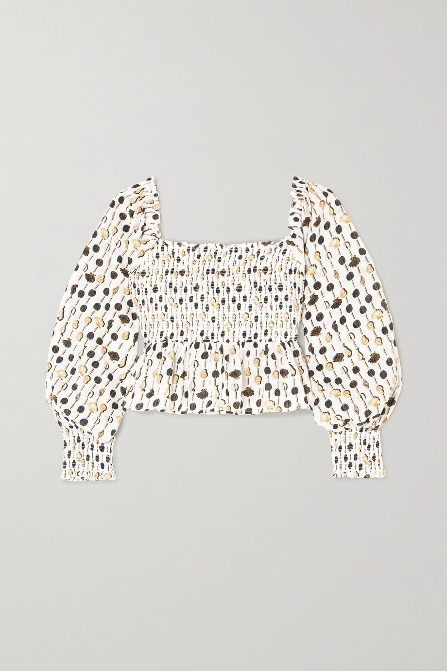 RIXO Eloise cropped shirred printed cotton-poplin top