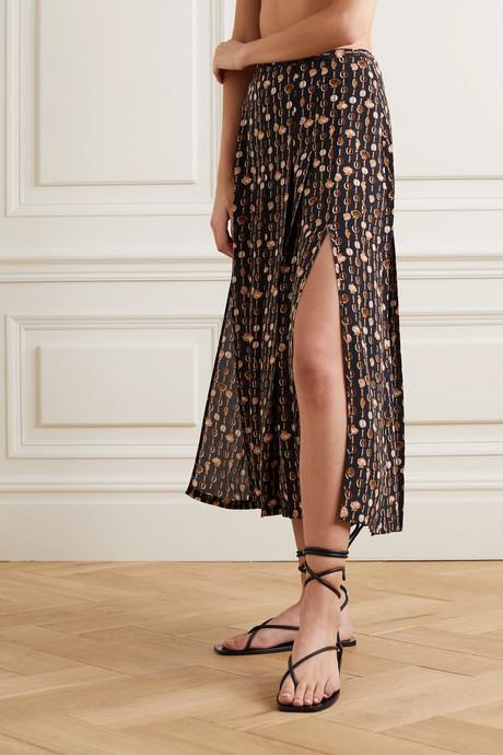Printed silk-crepe midi skirt