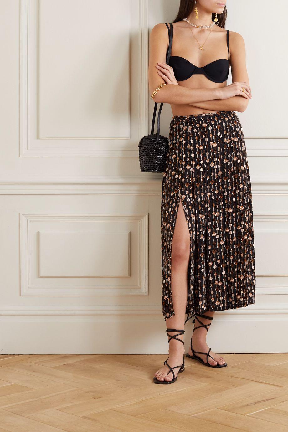 RIXO Printed silk-crepe midi skirt