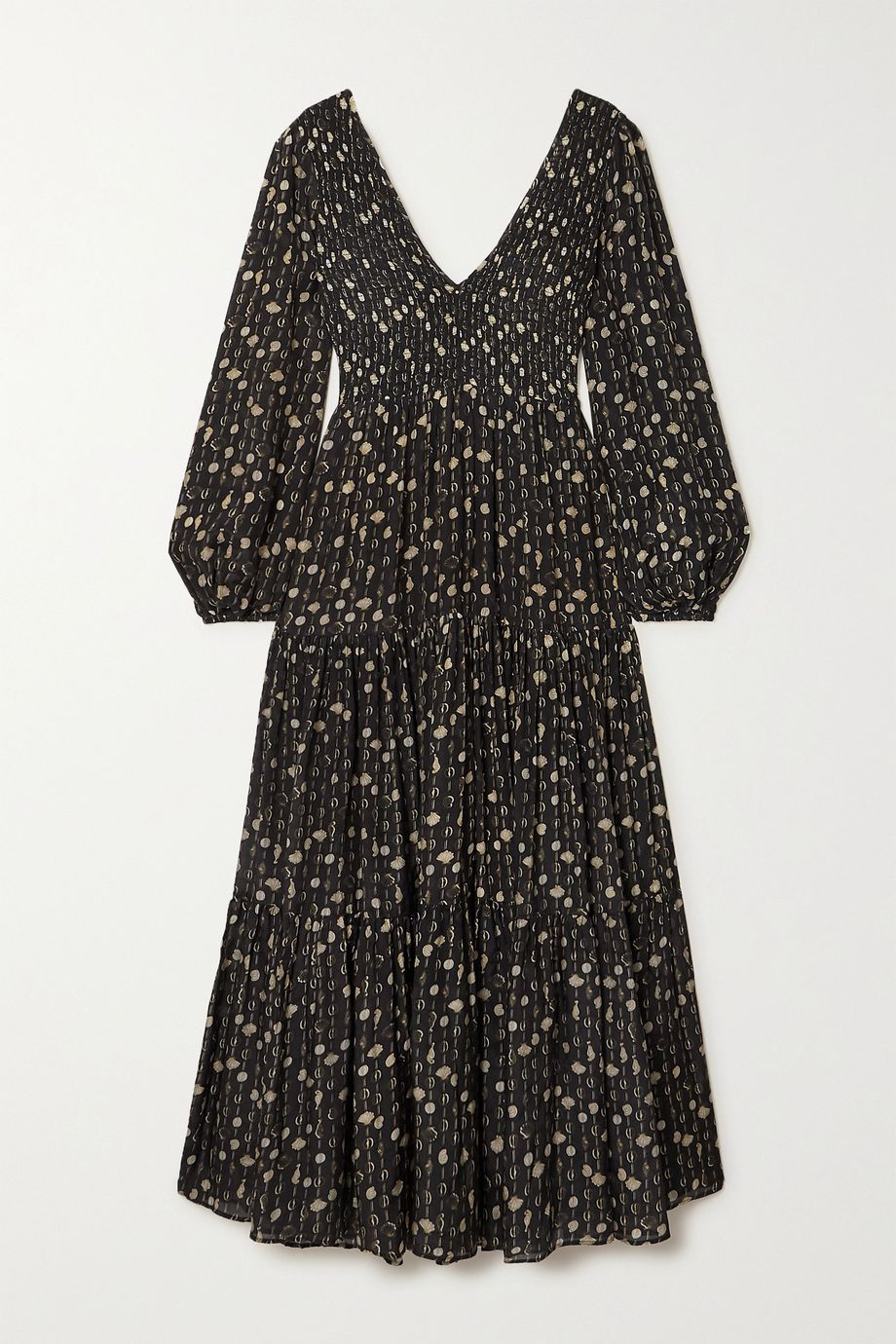 RIXO Brooke shirred tiered printed modal maxi dress