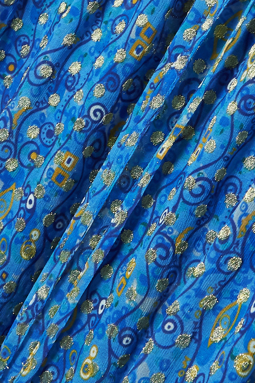 RIXO Misty printed metallic fil coupé chiffon wrap dress