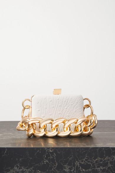 16ARLINGTON - Ralphie Mini Ostrich-effect Leather Shoulder Bag - White