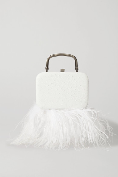 16ARLINGTON - Ralphie Feather-trimmed Textured-leather Tote - White