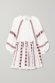 Rue Mariscal Embroidered cotton and silk-blend gauze mini dress