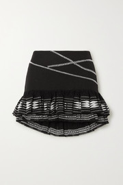 Rue Mariscal Ruffled embroidered cotton mini skirt