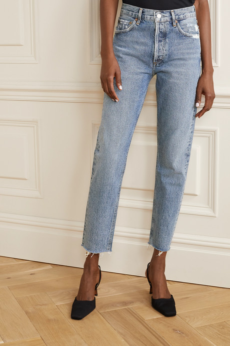 Jamie cropped frayed organic high-rise straight-leg jeans