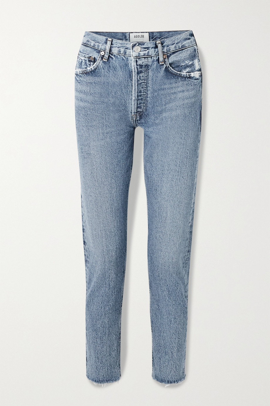 AGOLDE Jamie cropped frayed organic high-rise straight-leg jeans