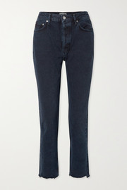 Remy cropped high-rise straight-leg jeans