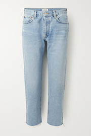 Parker cropped high-rise straight-leg jeans