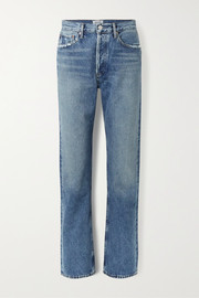 + NET SUSTAIN Lana distressed organic low-rise straight-leg jeans