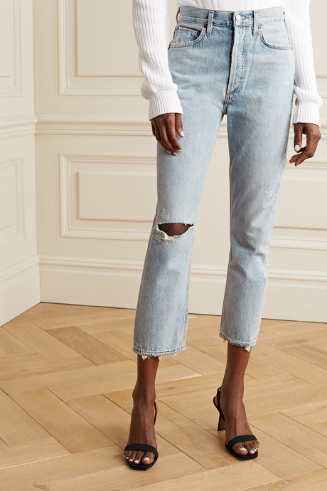 Riley cropped distressed high-rise straight-leg jeans