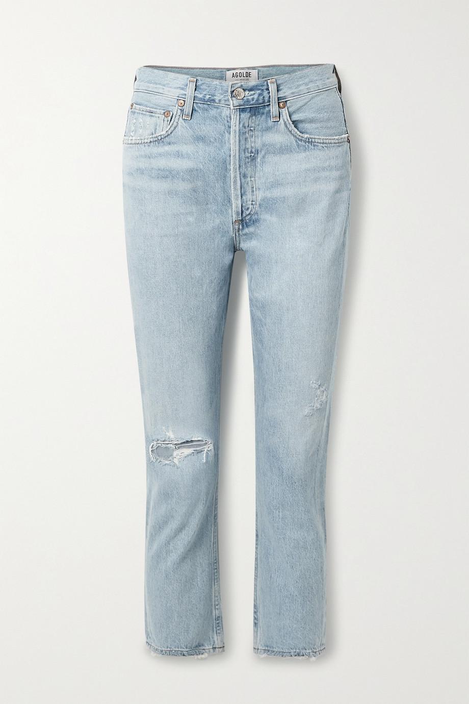 AGOLDE Riley verkürzte, hoch sitzende Jeans mit geradem Bein in Distressed-Optik