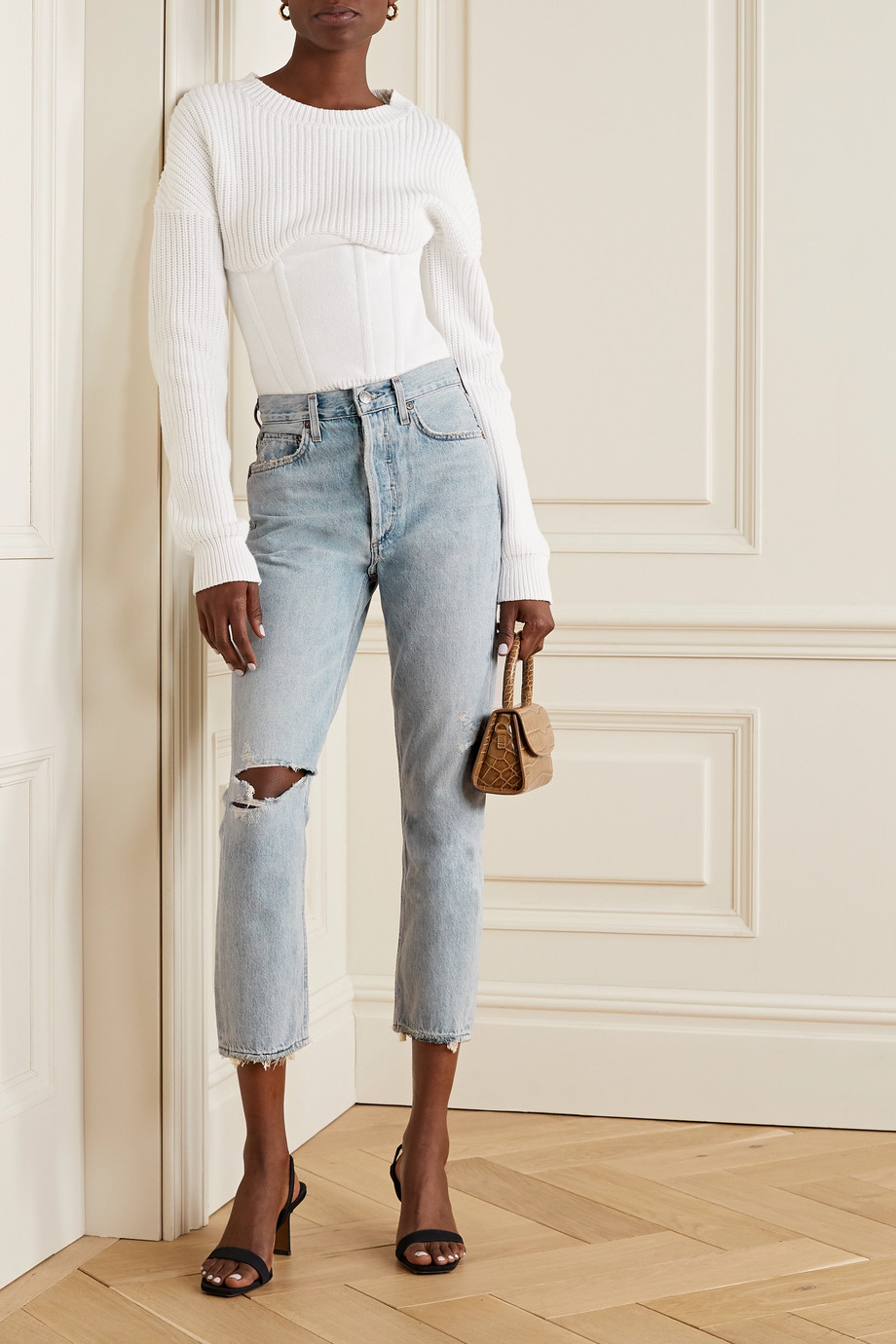 AGOLDE Riley cropped distressed high-rise straight-leg jeans