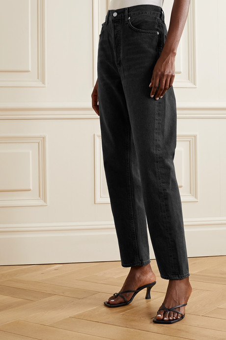 '90s distressed mid-rise straight-leg jeans
