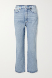 Pinch Waist cropped distressed high-rise flared jeans