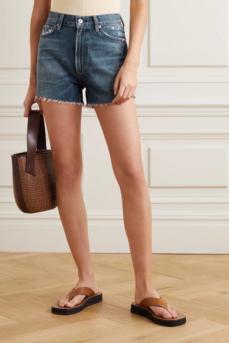 Kristen frayed denim shorts