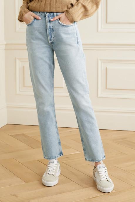 Charlotte distressed high-rise straight-leg jeans