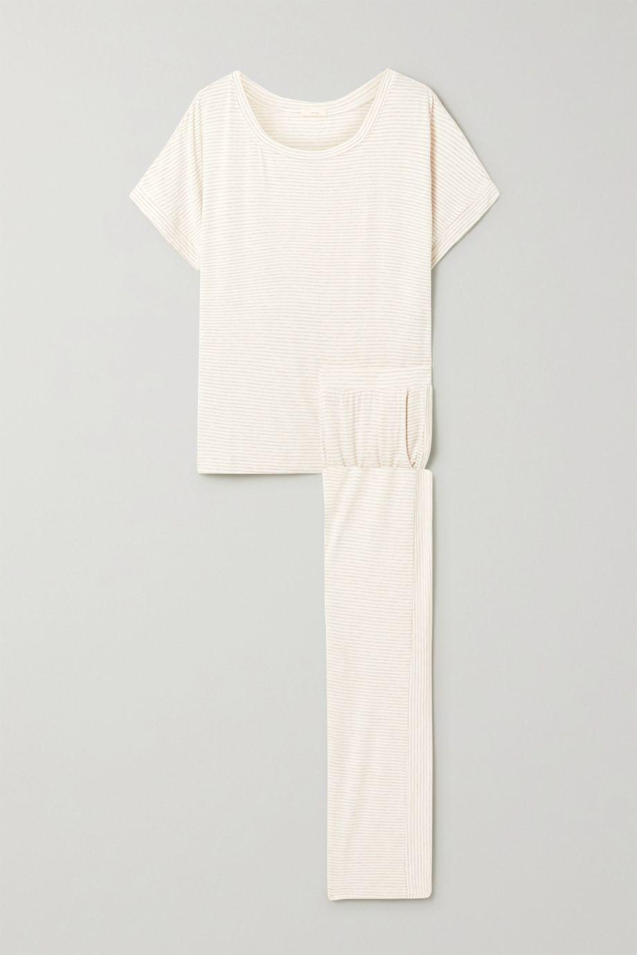 Eberjey Georgie Not So Basic striped stretch-jersey pajama set