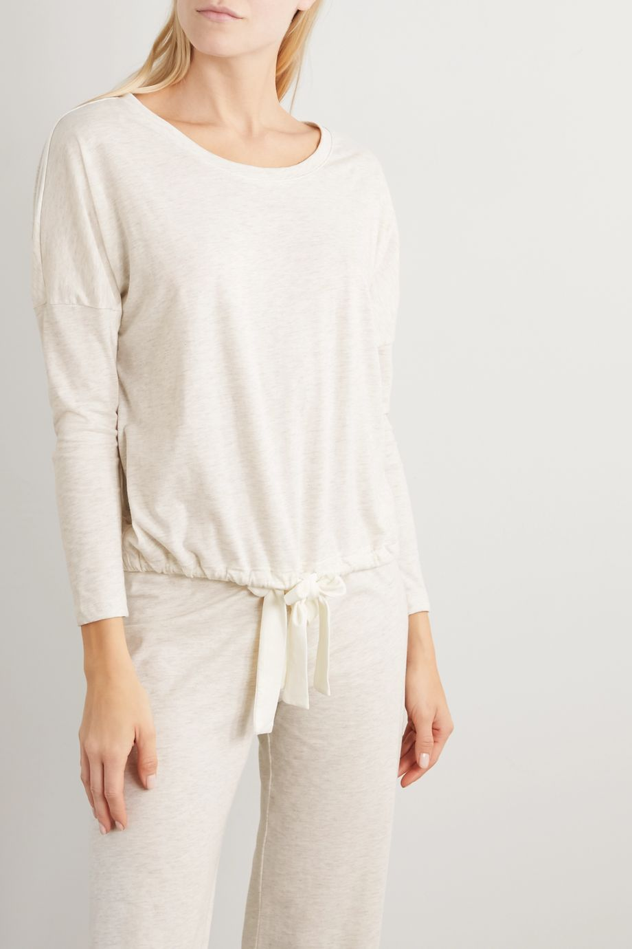 Eberjey Heather cotton-blend jersey pajama top