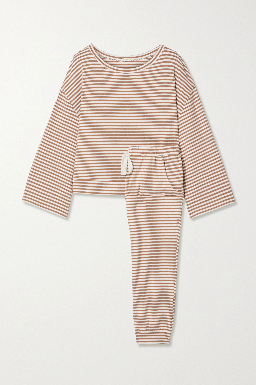Eberjey Quincy 条纹平纹布睡衣套装