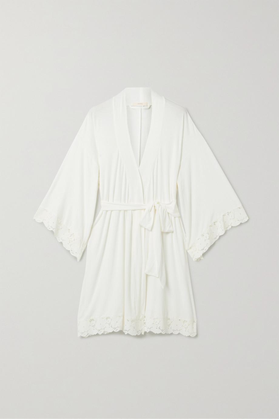 Eberjey Naya Mademoiselle lace-trimmed stretch-modal robe