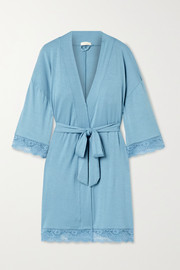 Anouk lace-trimmed stretch-modal robe